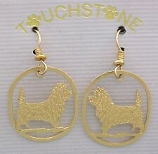 Cairn Terrier Jewelry Gold Dangle Earrings