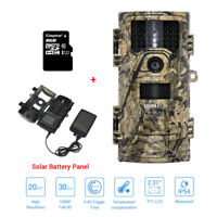 8GB+ 20MP 1080P Trail Camera Farm Security Infrared Waterpoof 8GB+Solar Battery