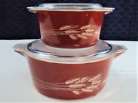 PYREX 473 - B & 475-B AUTUMN HARVEST WHEAT ROUND WITH LID 1 & 2.5 LTER CASSEROLE