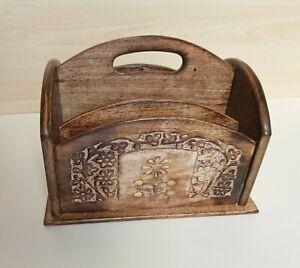 Wooden Letter Rack Hand Carved Organizer Holder Vintage Style Design