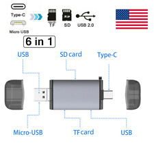6in1 Type C / Micro USB to USB/TF/SD Card Reader OTG HUB Adapter Phone Universal