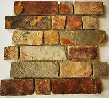 Mosaik Fliese Schiefer Naturstein Brick braun rost Verblender 34-1204   1 Matte