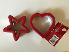 New Lot two Wilton Comfort Grip Cookie Cutters heart star