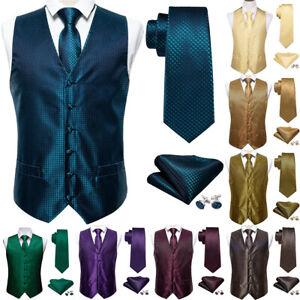 Solid Mens Waistcoat Tie Set UK Size Red Blue Gold Multi Wedding Vest Party Suit