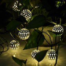 Warm White 10X LED Moroccan Solar String Lanterns Fairy Lights Garden Xmas Balls