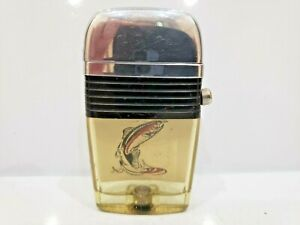 Vintage Working Scripto Vu Lighter Sail Fish On Line Black Band      1093.29