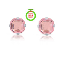 1.3 Carat CZ Pink Sapphire Asscher-Cut Sterling Silver Stud Earrings