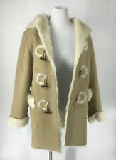 Nine West Large Womens Faux Shearling Hooded Duffle Coat Beige Toggle Closure