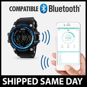 BLUETOOTH SMART WATCH Waterproof Mens Water Resistant LCD Digital Gold 51 52