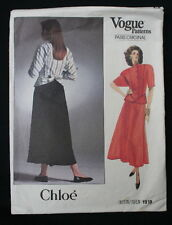 Vintage 1980 S Paris Original Chloe sewing pattern VOGUE 1918 Taille 10 jupe top