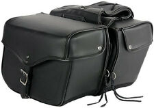 SMALLER SIZE QUICK RELEASE PLAIN MOTORCYCLE PV LEATHER SADDLEBAGS UNIVERSAL FIT