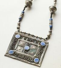 Vintage Afghan Kuchi Silver and Enamel Pendant Necklace