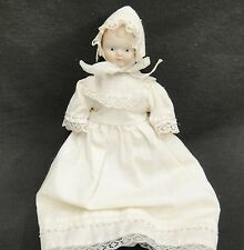 Vintage Small Porcelain Doll in Long Dress and Bonnet