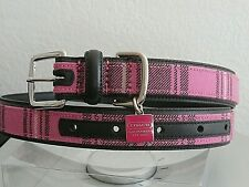 NEW COACH BLACK AND PINK PLAID WITH SQUARE CHARM DOG COLLAR XL XLARGE EXTRALARGE