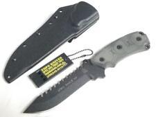TOPS Steel Eagle Fixed Black Sawback Blade Micarta Handle Knife + Sheath 105HP
