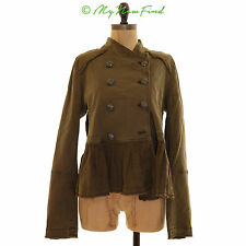 FREE PEOPLE MILITARY BUTTON FRONT FATIGUE GREEN PEPLUM JACKET SIZE SMALL B98