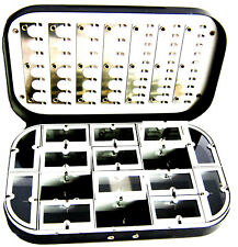 Aluminum Black Satin 16 Compartment Fly Box Nymphs Wet Dry Flies Rods Reels Nets