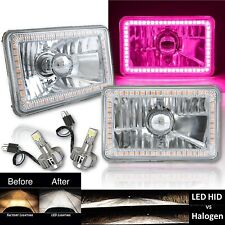 "4X6"" Pink SMD Halo Glass / Metal Headlight 6000K 6K LED Light Bulb Headlamp Pair"