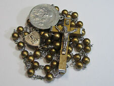 † ANTQUE BLESSED FIRST HOLY COMMUNION MEDAL & VINTAGE SILVER TONE GOLD ROSARY †