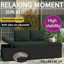 vidaXL Sun Bed With Cushions Poly Rattan Black Adjustable Garden Lounge Daybed