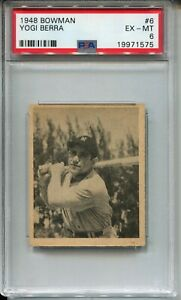 1948 Bowman Baseball #6 Yogi Berra Rookie Card Graded PSA EX MINT 6 Yankees
