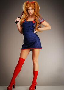 Womens Halloween Doll Adult Fancy Dress Costume Horror Movie Blue & Red