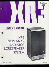 McIntosh XR-3 Isoplanar Radiator Speakers Rare Original Factory Owner's Manual