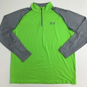 Under Armour 1/4 Zip Athletic Pullover Mens MD/M Green Pullover Long Sleeve