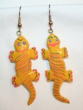 CUTE Yellow Orange Balsa Wood Alligator PIERCE Earrings ++++++