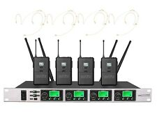 4 Channels UHF PLL Wireless Four Beige Headset Microphone Radio Mic System