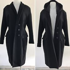 ACNE STUDIOS black WOOL TAILORED COAT with DETACHABLE HOOD size 38