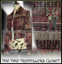 Vintage 70s Brown Orange Silver Green Dagger Collar Crop Jacket Blouse UK8 10 12
