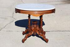 Fancy Renaissance Revival Large Walnut Victorian Marble Top Table