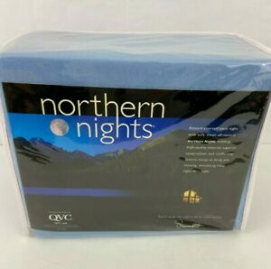 Northern Lights Blueberry Blue  Queen Size Jersey Sheet Set Supima Cotton NEW