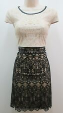 Kensie Dresses Black Ivory Lace Cap Sleeves Sheath Cocktail Party Dress 10 NWT