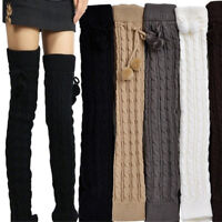 Women Knitted Thigh Knee Stocking High Long Boots With Socks Fur Ball Leg Warmer