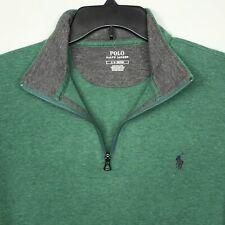 Polo Ralph Lauren 1/4 Zip Sweater Pullover Green Heather Zip Mens Large NEW $90