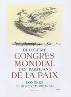 Picasso Deuxieme Congres Mondial 1950 Vintage Poster Mourlot 1964 Platesigned