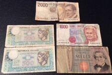 5 Mixed Italian Lire Banknotes 1 X 2000, 2 X 1000, 2 X 500 (Mixed Issue Years)