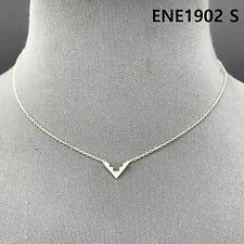 Simple Silver Finished Chain Mini Triangle V Shape Pendant Necklace ENE1902 S