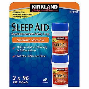 Sleep aid, unisom, sleeping pills, Kirkland sleep aid compare to unisom, 192 tab