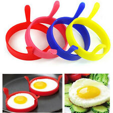 4x Red Kitchen Cooking Silicone Fried Oven Poacher Pancake Egg Poach Ring Mould