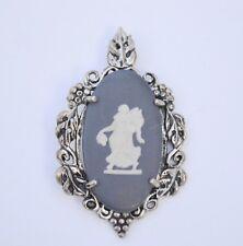 Vintage sterling silver Wedgwood Kabana PENDANT matte black cameo jasperware