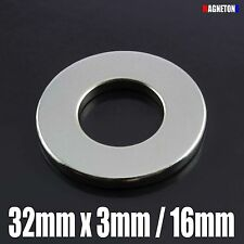 5 Neodymium Magnets Large DISC RING 32mm x 3mm / hole 16mm STRONG Neodimio