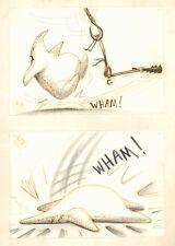Nightmare Before Christmas Storyboard Art 2pc SET: Jack clubs Oogie Boogie 1993