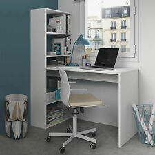 Mimi Ash White Computer Desk Workstation Table with Bookcase Combi Furniture