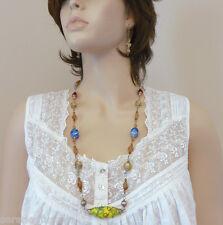 Wedding Cake Lampwork Beads, Austrian Crystal, Vintage Murano Glass Necklace Set