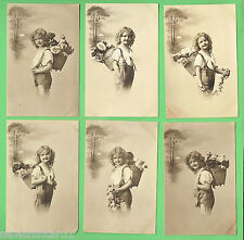 #N. SIX  POSTCARDS, YOUNG  GERMAN GIRL  WITH  FLOWERS , ABOUT 1912