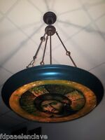 LAMPARA de TECHO Siglo XX Laton Viejo Restaurada DECORACION RETRO Imagen Cristo