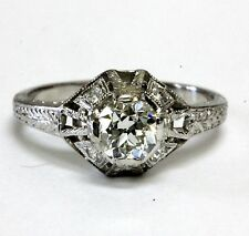 GIA certified 18k white gold .65ct VS1 G vintage round diamond ring 2.6g  5 1/4